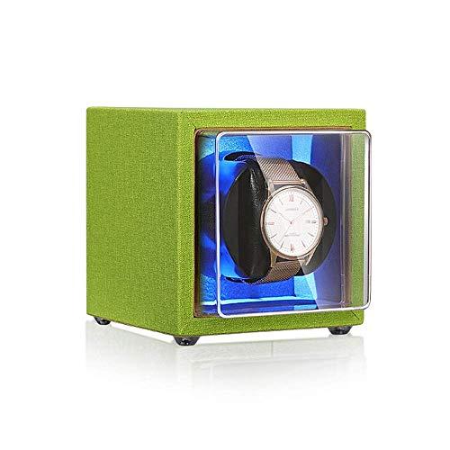 FGVBC Caja enrolladora de Reloj Individual, con luz LED Azul, Motor silencioso, Almohada Flexible de Cuero PU, configuración de 4 Modos de rotación Happy Life