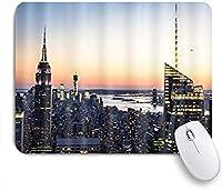 EILANNAマウスパッド ブルーイエローニューヨークビルディング ゲーミング オフィス最適 高級感 おしゃれ 防水 耐久性が良い 滑り止めゴム底 ゲーミングなど適用 用ノートブックコンピュータマウスマット
