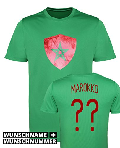 Comedy Shirts - Marokko Trikot - Wappen: Groß - Wunsch - Herren Trikot - Grün/Rot Gr. XXL