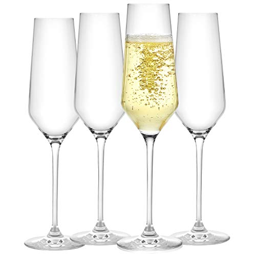 JoyJolt Champagne Flutes – Layla Collection Crystal Champagne Glasses Set of 4 – 6.7 Ounce Capacity – Ideal for Home Bar, Special Occasions – Made in Europe