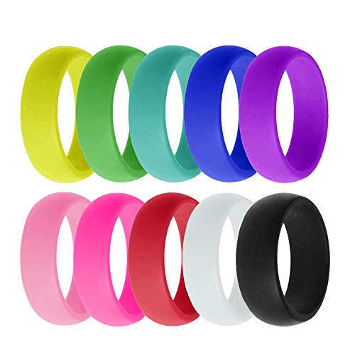 VEINTI+1 10 Pack Candy Color Set Silicone Rings for Women/Men,Fit for Sport,Fitness,Training,Size 6-12(8mm Wide) (6)