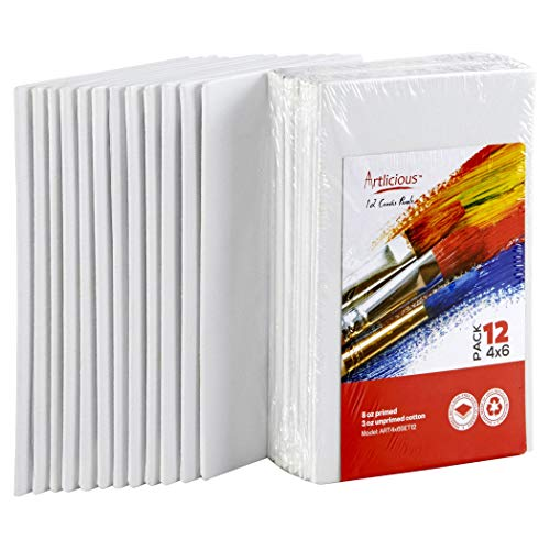 Artlicious Canvas Panels 12 Pack - 4 inch x 6 inch Super Value Pack - Artist Canvas Boards for Painting