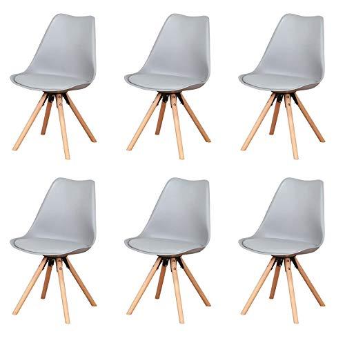 sedie sala da pranzo di plastica Uderkiny Set di 6 sedie da pranzo Sedie in plastica con cuscini e gambe in faggio