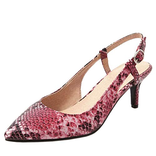 Lydee Mujer Moda Pumps Kitten Heels Zapatos Tacon Slingback Partido Shoes Pointed Toe Heels Leopard Shoes Red Talla 45