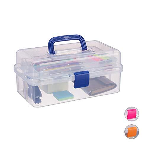 Relaxdays Transparente Plastikbox, 9 Fächer, Werkzeugbox, Nähkästchen, Werkzeugkoffer, Werkzeug, HBT 14x33x19 cm, blau