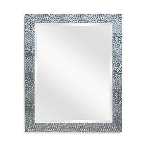 Wall Beveled Mirror Framed - Bedroom or Bathroom Rectangular frame Hangs Horizontal -