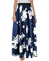Sinono Women's Chiffon Stripe Maxi Skirt High Waist Mopping Floor Skirts (X-Large, Flower)