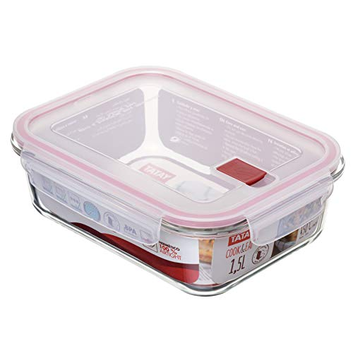 TATAY 1161809 -Cook&Eat Contenedor de Alimentos hermético de Cristal borosilicato, Transparente/Rojo, 1,5 litros de capacidad, 17,7 x 23,1 x 7,6