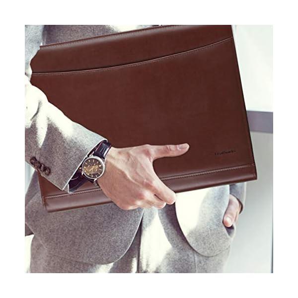 41H4LgM2uML. SS600  - Leathario Portafolio de Carpeta Portadocumentos A4 Organizadora Oficina Personal para Conferencias de Negocio PU de Viaje con Cremallera y Calculadora (Marrón y rojo)