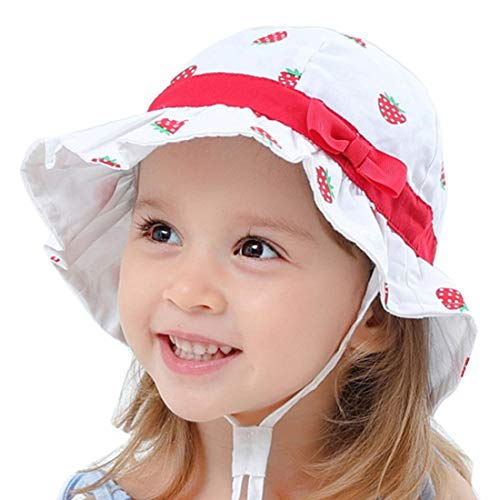 Sonnenhut Baby Mädchen, Kleinkind Fisherhut Sommermütze mit Kinnriemen UV-Schutz Einstellbarer Strandhut