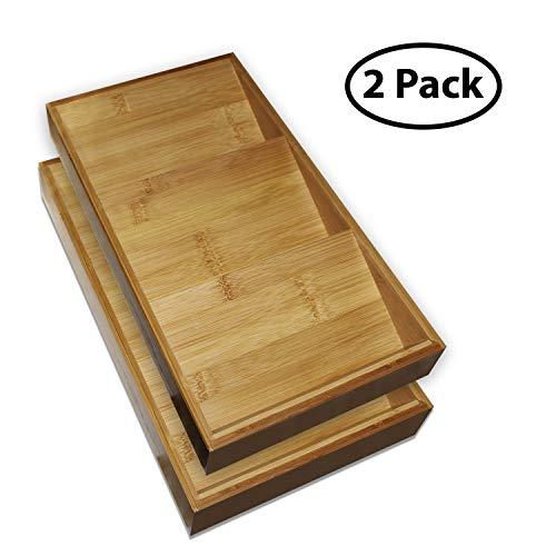 Kurtzy Gewürzhalter (2er-Packung) - 3 Stufen(38x20x5cm) Geneigt, Bambus Holz Gewürzregal - Tischplatte und Schubladeneinsätze Kräuter und Gewürzhalter Organise Regal für Küche Aufbewahrungs