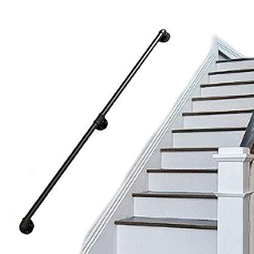 HYXXQQ Handrail Handläufe Treppen Handlauf Geländer Außen Innen Schwarz Metall Schmiedeeisen | Wandhandlauf Wohnung Draußen Handlaufset Direkt Zum Treppenhaus Oder Kellereingang AAA++++ (Size : 50cm)