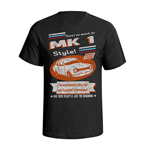 Mens Escort Mk1 Car T-Shirt Classic Retro Since 1968 Garage Style Black