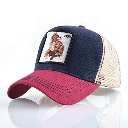 Gorra de béisbol Bordada con Animales a la Moda para Hombres y Mujeres Gorra de Hip Hop de Verano Transpirable Malla Sun Gorras Unisex Streetwear Bone-Red1 Fox