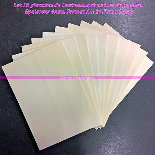 Lealoo Lot 10 Planches de Contreplaqué Bois peuplier épaisseur 4mm, Plaque Format A4