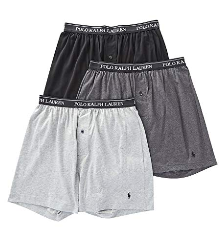 Polo Ralph Lauren Knit Boxer Shorts with Moisture Wicking 100% Cotton - 3 Pack (M, Grey Asst)