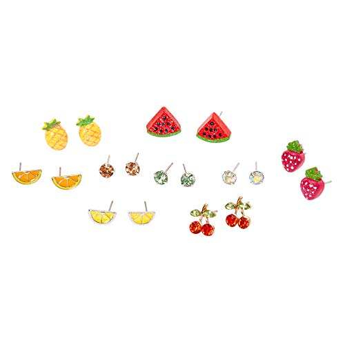 Claire's Silver Mixed Fruit and Crystal Stud Earrings for Girls, Multicolor with Silver Tone, Post Back, 9 Pairs