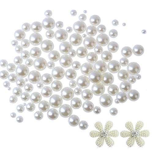 600 Pcs Perles Nacre Plates embellissements, 4/5/6/8/10 / 12mm résine perles demi-ronde avec 2pcs perles flatback fleur pour chaussures bricolage sac à main carte de voeux mobile et maquillage