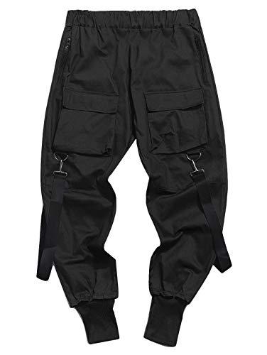 Onsoyours Herren Hose Mode Cargo Hose Muti Taschen Bandage Casual Sporthosen Harem Hose Männer Freizeithose Chino Hose Sweatpants 01 Schwarz S