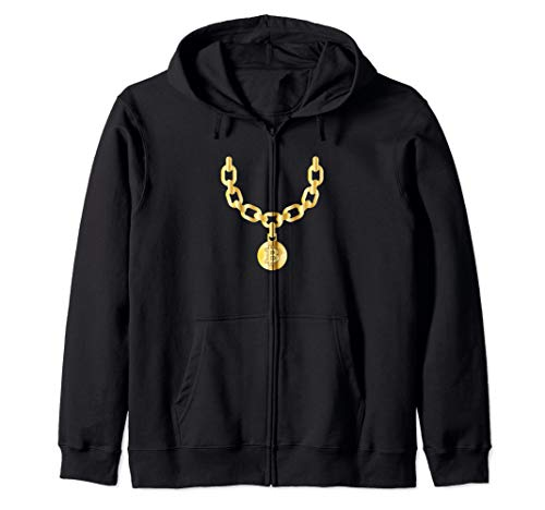 Bling Bling Bitcoin Gold Chain Funny CryptoCurrency Zip Hoodie
