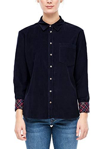 s.Oliver RED Label Damen Feincord-Bluse mit Karo-Details Navy 44