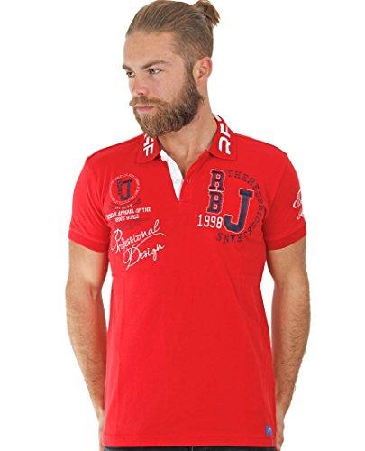 Redbridge Herren Poloshirt R-1624 Slim-Fit Einfarbig, 52 (M), Rot