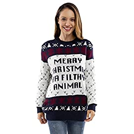 Unisex Women's Ugly Christmas Sweater Knit Funny Fairisle Pullover 11 QUALITY COMES STANDARD. Cable knitted with high quality 100% acrylic, flaunt your festive funk in a superior sweater that wears well, isn't scratchy, retains its shape and won't shrink. STYLIN' SWEATERS TO SUIT YOU. Available in unisex, from saucy Santa, raunchy reindeer and T-Rexs and Llamas to classic Fair Isle and cutesy penguins with pom poms and sequins, we've got it all. COMFORT IS KING. Knitted with the softest premium yarn that sits gently on the skin, doesn't cause skin irritation, settle in for the season in style and comfort. Share the love as a gift too. Perfect for Secret Santa!