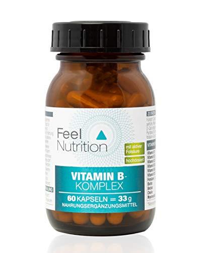 Vitamin B-Komplex - IM GLAS, OHNE WEICHMACHER - Mit den bioaktiven Formen B12 als Methylcobalamin, B9 als 5-MTHF Quatrefolic® - vegan & hochdosiert - 60 Kapseln