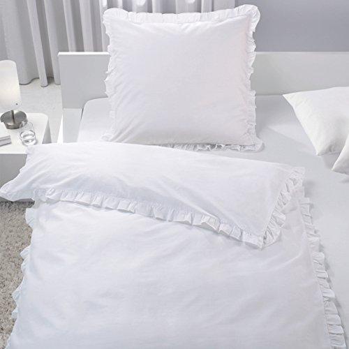 JEMIDI Bettwäsche mit Rüschen 2 teilg 135cm x 200cm Bettbezug Bettgarnitur Bett Wäsche Betten Decke Überzug Bezug Set Vintage Retro