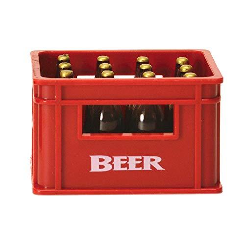 Bierkiste Flaschenöffner mit Magnet in rot - Bierkasten Bieröffner Kapselheber