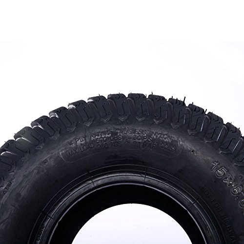 2PC 15x6.00-6 Turf Tires for Lawn and Garden Tractor Mover Golf Cart Tubeless Tires 4 Ply Durable