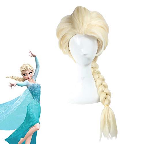 Princess Frozen Snow Queen Elsa Weaving Braid Light Blonde Cosplay Wig Anime Costume Wigs+ Wig Cap Zl004