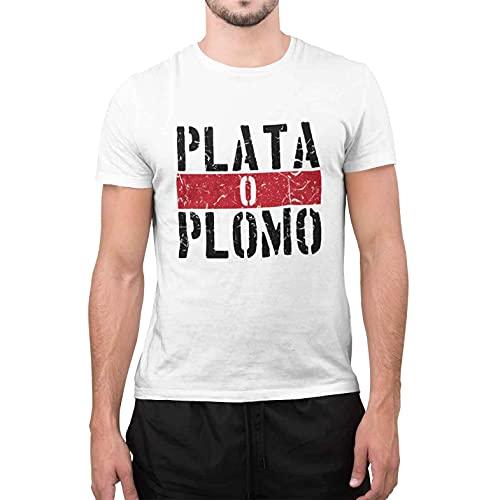 CHEMAGLIETTE! T-Shirt Uomo Divertente Maglietta Maniche Corte 100% Cotone con Stampa Plata o Plomo Bianco, M