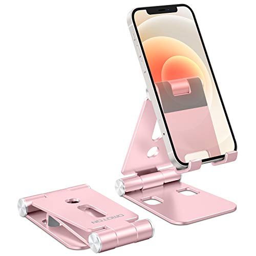 "Foldable Cell Phone Stand, OMOTON C4 Portable Aluminum Phone Holder, Adjustable Phone Dock Cradle Compatible with iPad (7.9-11""), Samsung Galaxy, Ebook Reader and More, Rose Gold"
