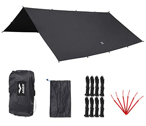 MIER Outdoor Ultralight Waterproof Tent Tarp Windproof Hammock Rain Fly SilNylon Ripstop Backpacking Camping Shelter, 6 Stakes and 8 Ropes Included, Grey, XL