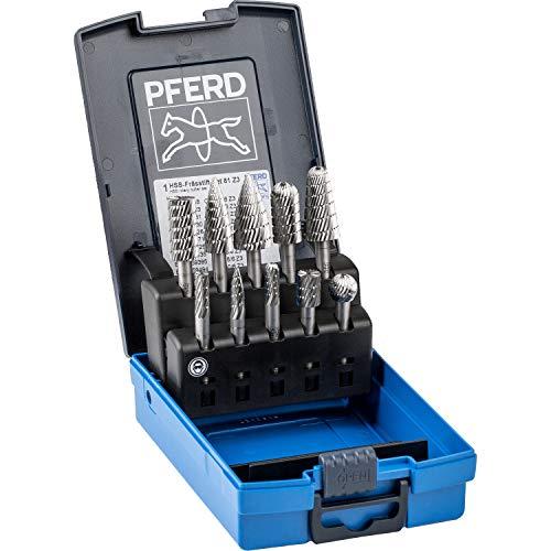 PFERD HSS-Frässtift-Set, 10-teilig, Zahnung 3, Schaft-ø 6 mm, 22900813 – für die Zerspanung von Stahl, Stahlguss und Gusseisen