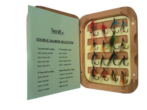 Bamboe presentatie zalm ook Selection 16 vliegen zalm in bamboe, bruin