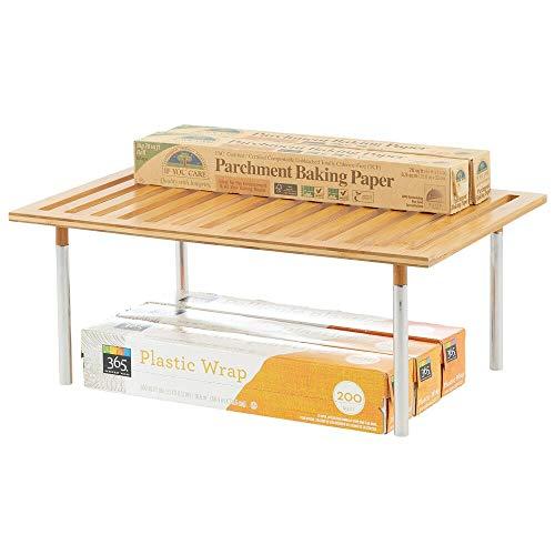 mDesign Organizer cucina da appoggio – Pratico ripiano portaoggetti impilabile in bambù e metallo – Elegante scaffale universale cucina, per piani lavoro, pensili e dispense – color bambù