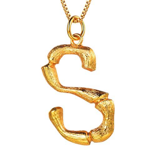 Suplight Halskette Große Name Initiale Alphabet Anhänger 21k vergoldet Buchstabe S Bambus Stil Halsschmuck für Damen Mädchen Geburtstag