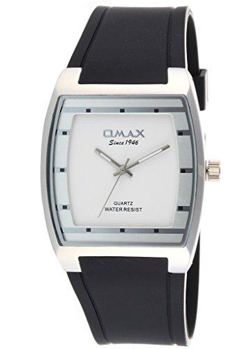 Omax Herren Uhr Mode Kleidungsstil Silber Zifferblatt Analog Quarzwerk Mit Schwarzem Silikonband OM-M