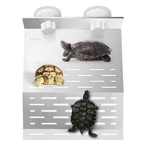 WYKOO Acrylic Plastic Turtle Basking Platform with 2 Suction Cups and Small Food Bowl, for Tortoise Resting and Turtle Fish Tank Aquarium Dock Floating Decor