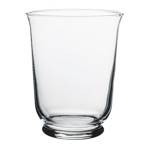 IKEA Pomp Vase/Windlicht aus Klarglas; (18cm)