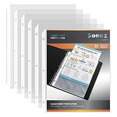 ?Value Pack?Sooez Sheet Protectors and Tab Dividers 2 in 1, 50 Clear Page Protectors + 8 Extra Wide Dividers for Standard 8.5x11 Binder Sheets, Protect & Organize Documents Quickly and Easily, 1 Set