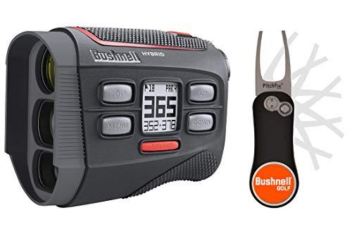 Bushnell Hybrid Golf Laser/GPS Rangefinder Pitchfix Bundle   with PlayBetter Pitchfix Divot Tool & Bushnell Magnetic Ball Marker   Hybrid Rangefinder + GPS   Pinseeker w/Jolt, 5X Mag   201835