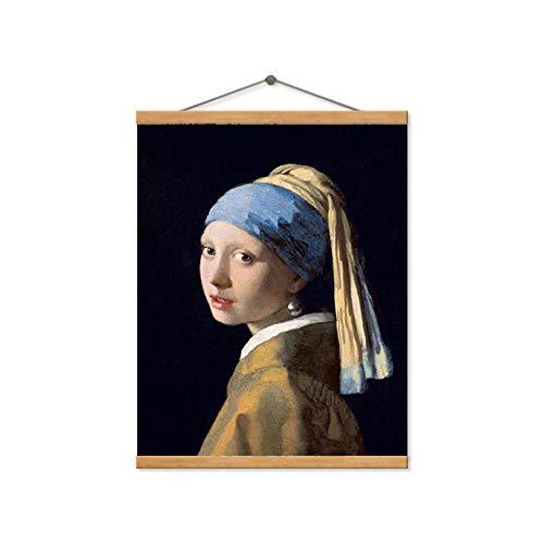 TELEGLO Niederlande Jan Vermeer MÄDCHEN MIT PERLENOHRRING Leinwand Ölgemälde Wandkunst Bild für Wohnzimmer Dekor Poster und Drucke 50x70cm no Frame