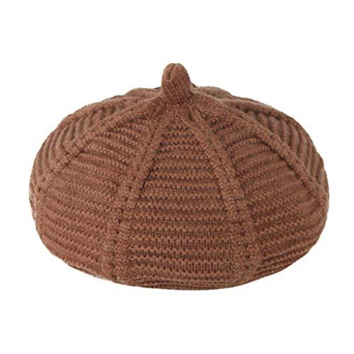 Yue668 - Boina de rayas de colores lisos para niños, sombrero de punto de calabaza, gorro de lana, gorro de calabaza, sombrero informal para niños