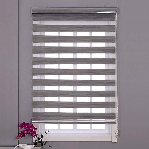 Roller persienner mörkgrå fönsterskärm persienn zebra dubbel dag och nattpersienner gardiner, lätt att installera, 60 cm/80 cm/100 cm/120 cm/140 cm bred 120x240cm Grått