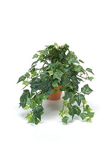 artplants.de Edera Finta Pendente Maja in Vaso d'argilla, Verde, 20cm - Edera Artificiale - Pianta Finta