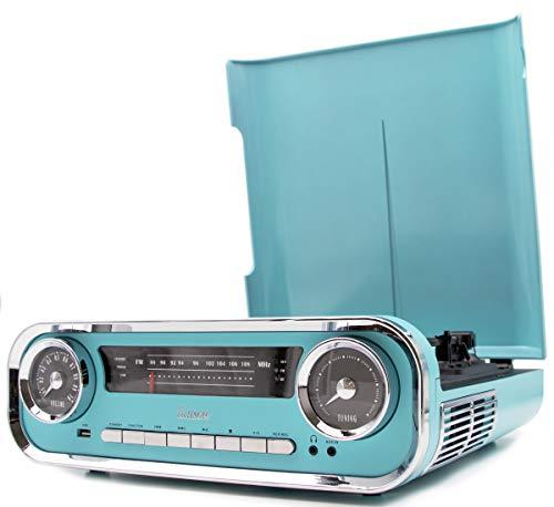 Lauson 01TT18 Tocadiscos Diseño Vintage Coche de Colección con 2 Altavoces Estéreo Integrado de 3 W | Tocadisco Vinilo con Radio FM, Función Bluetooth, USB, AUX | 3 Velocidades (33, 45, 78) (Azul)