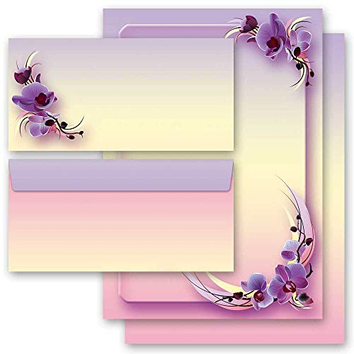 Briefpapier Set, 20 tlg. Blumen & Blüten, ORCHIDEENBLÜTEN 10 Blatt Briefpapier + 10 passende Briefumschläge DIN LANG ohne Fenster | Paper-Media